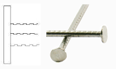 Flat head serrated stainless steel nail