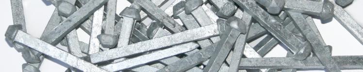 Hardened, galvanized and zinc coated steel nails