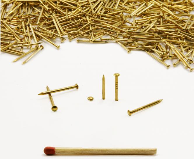 Round head brass nail Ø 1.3 mm L : 18 mm - Ø 1.3 mm