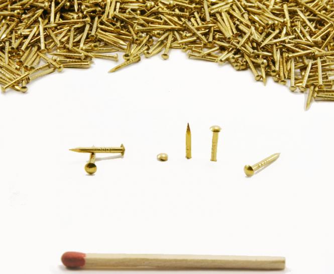 Round head brass nail Ø 1.3 mm L : 10 mm - Ø 1.3 mm