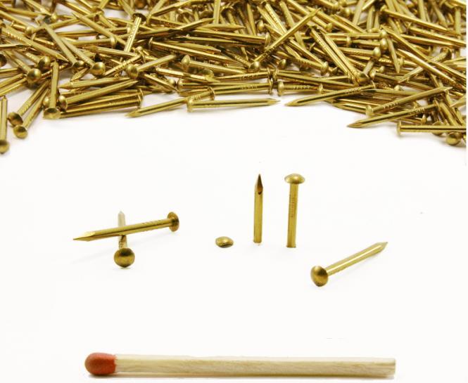 Round head brass nail Ø 1.5 mm L : 25 mm - Ø 1.5 mm