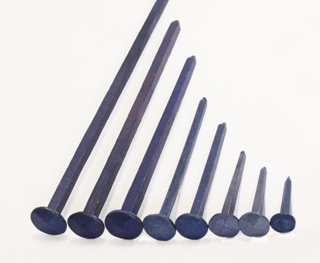Diamond shaped head blued steel forged nail (100 nails)